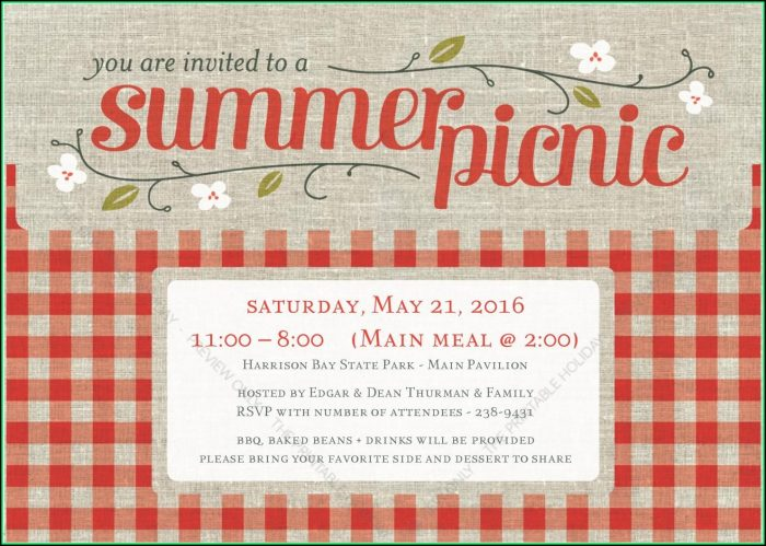 Free Company Picnic Invitation Templates