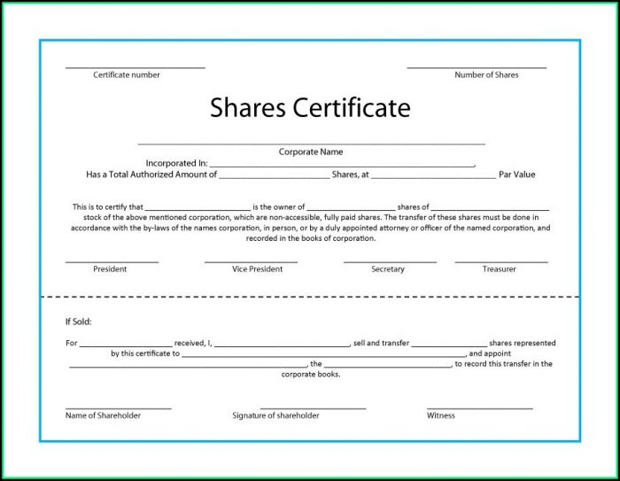 Free Company Share Certificate Template