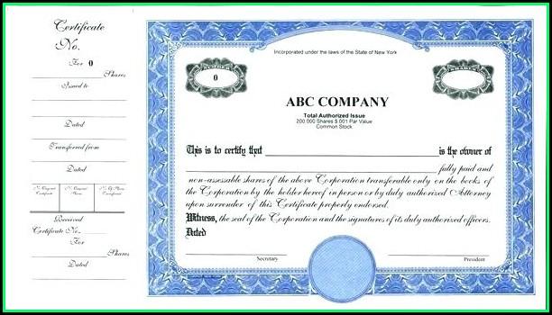 Free Corporate Stock Certificate Template