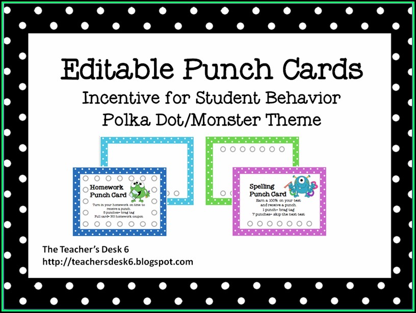 Free Editable Punch Card Template