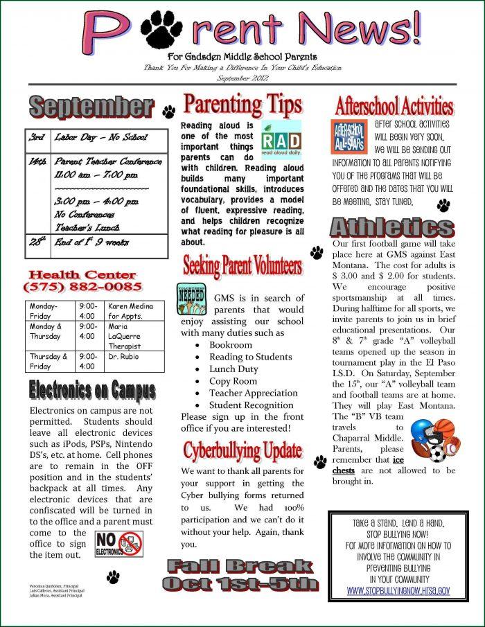 Free Elementary School Newsletter Template