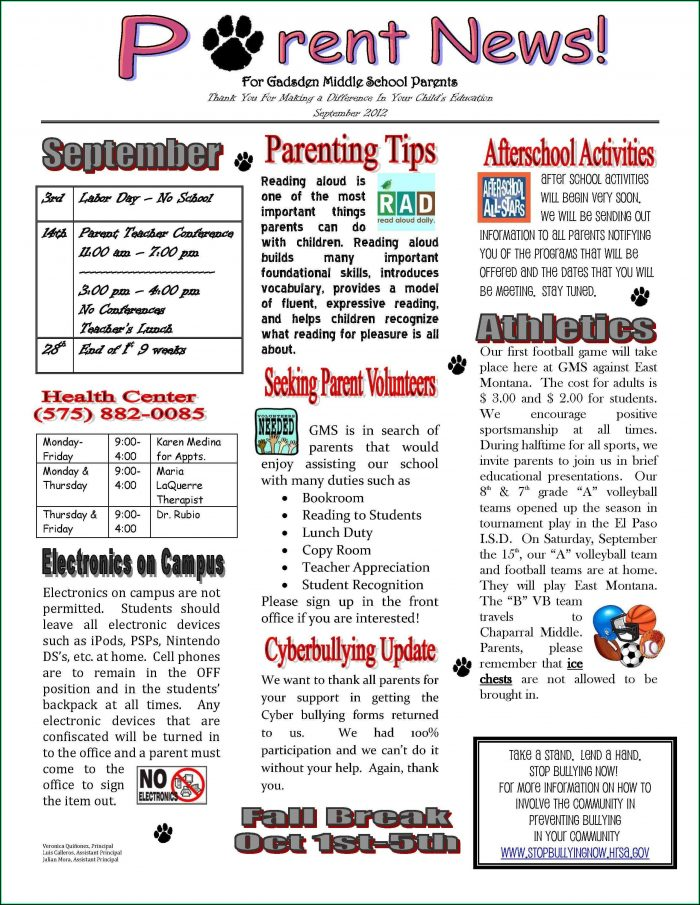 Free Elementary School Newsletter Templates