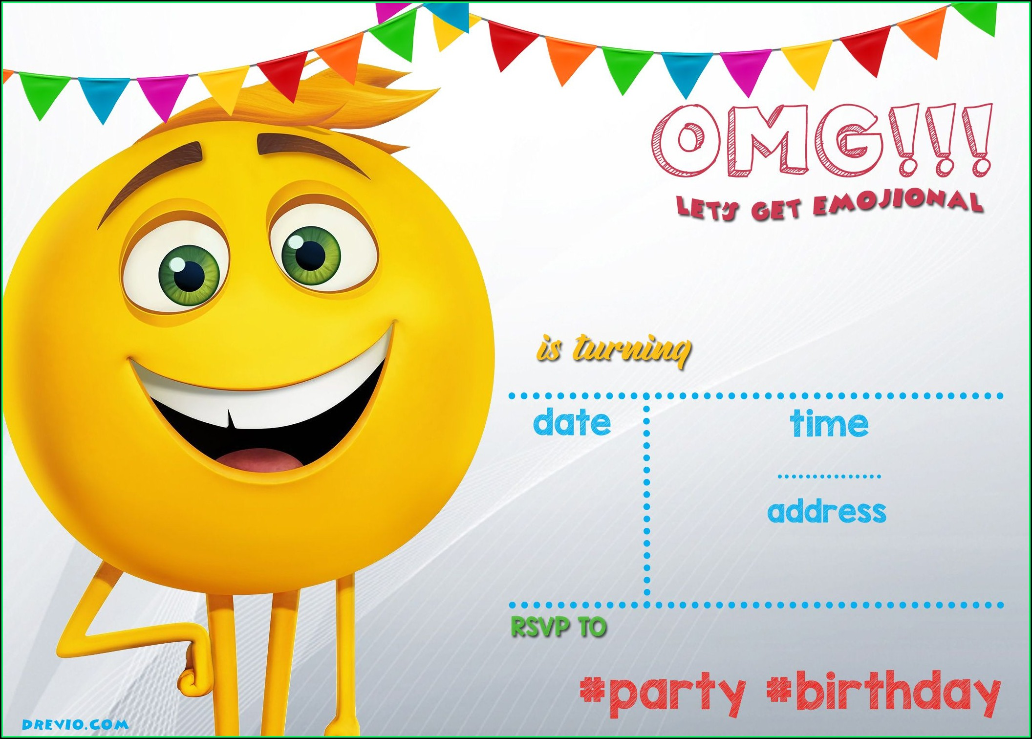 Free Emoji Birthday Invitation Template