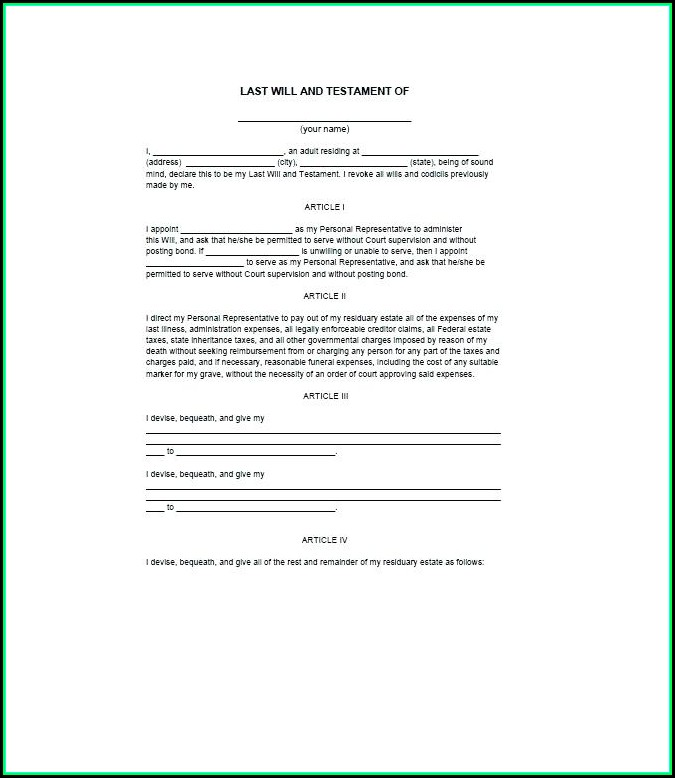 Free Examples Of Last Will And Testament Template