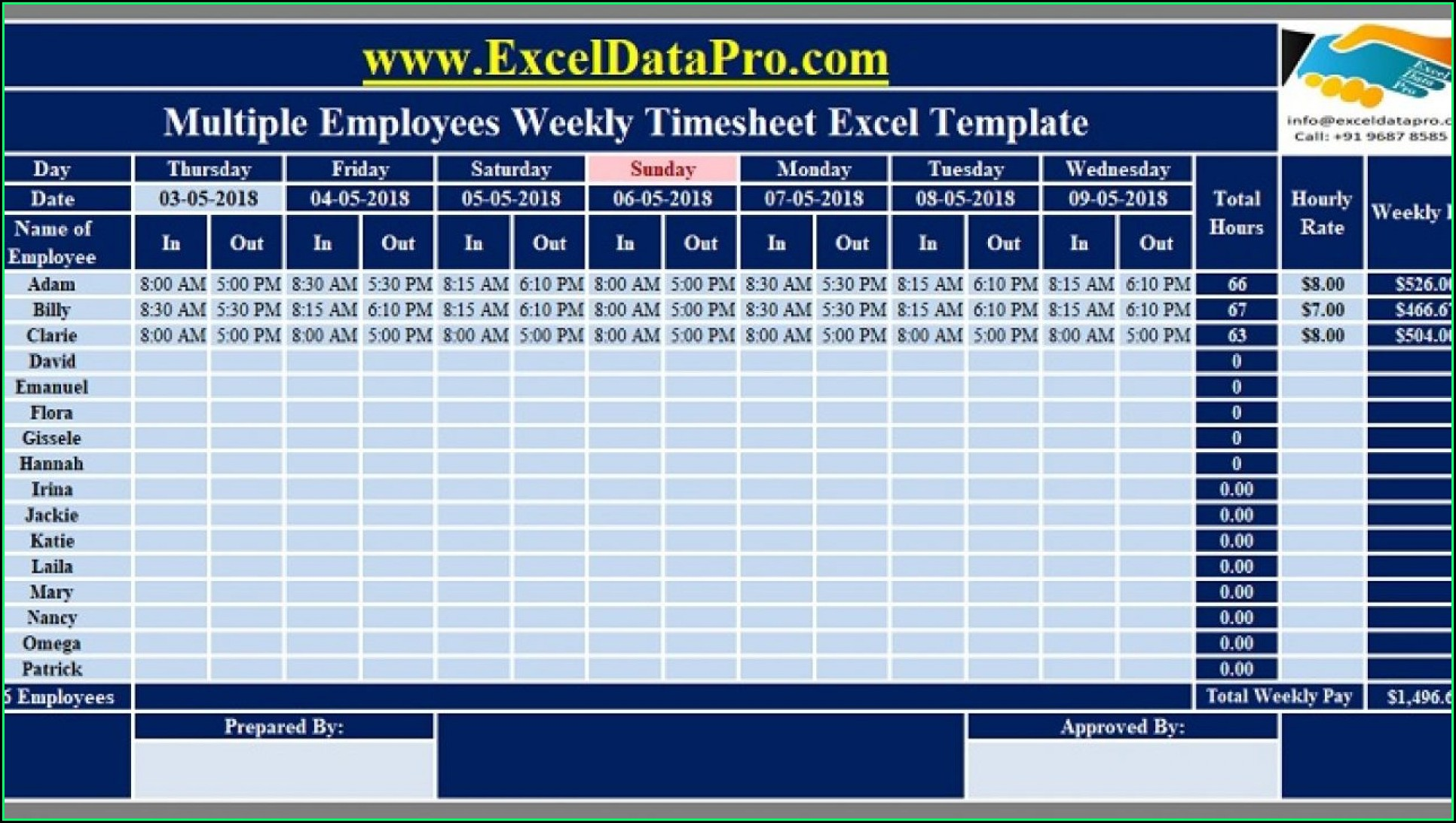 Free Excel Timesheet Template With Formulas For Multiple Employees