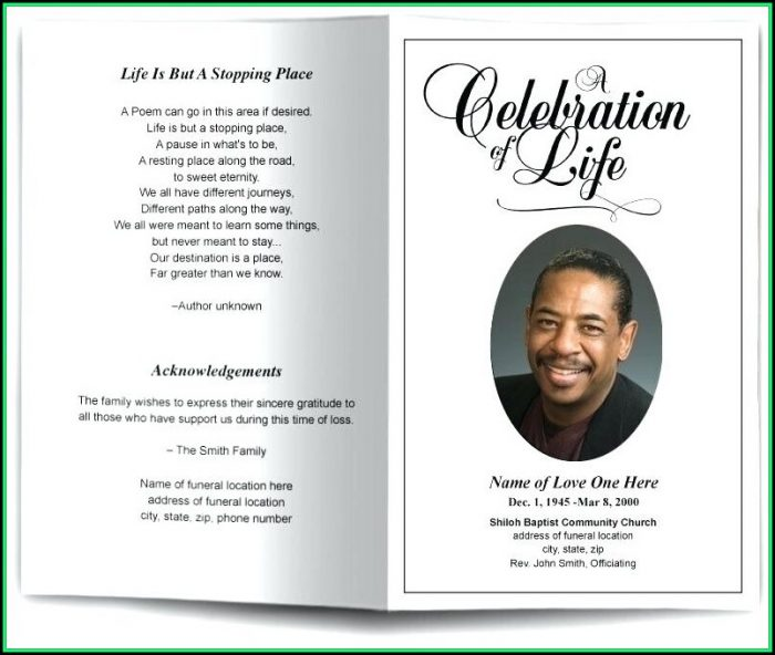 Free Funeral Remembrance Cards Template
