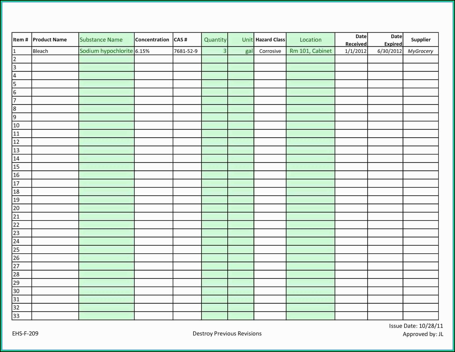 Free Inventory Spreadsheet Example