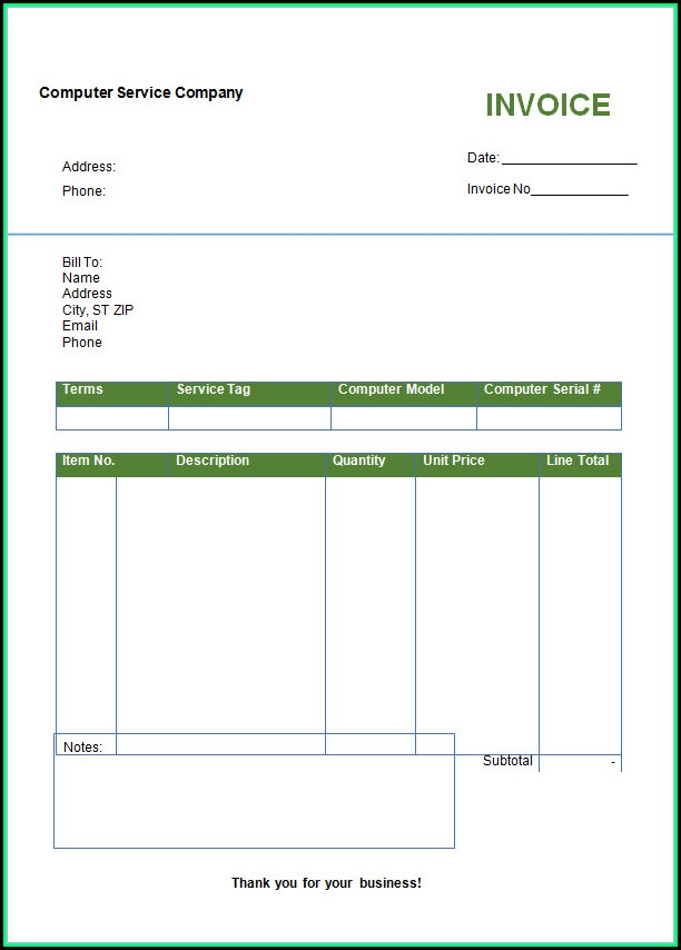 Free Invoice Template Microsoft Word 2007