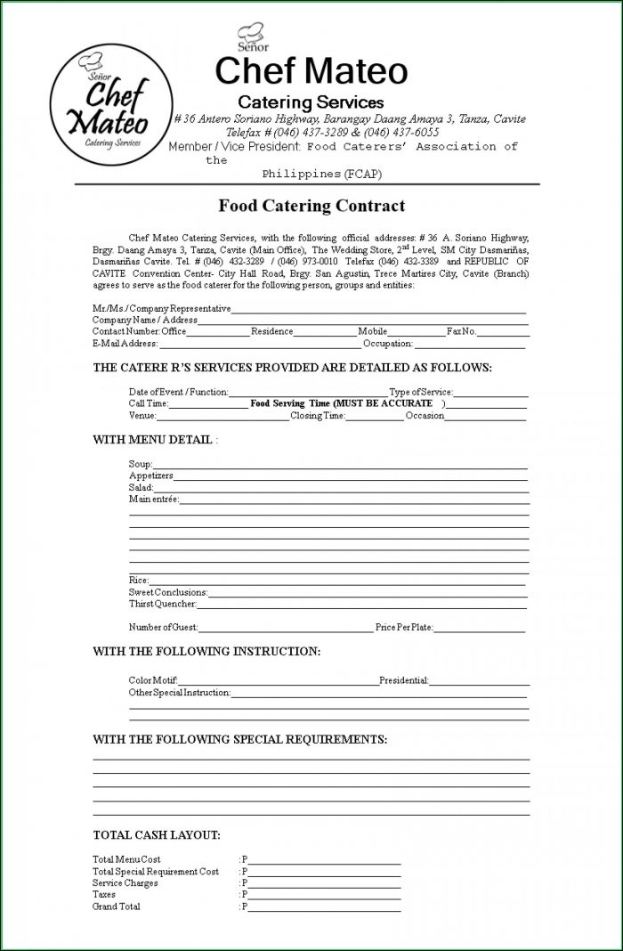 Free Printable Catering Contract Template