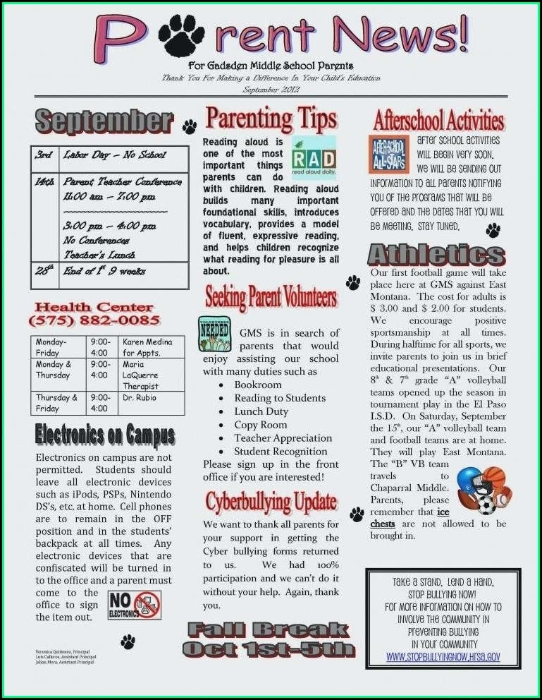 Free Printable Newsletter Templates For Elementary School