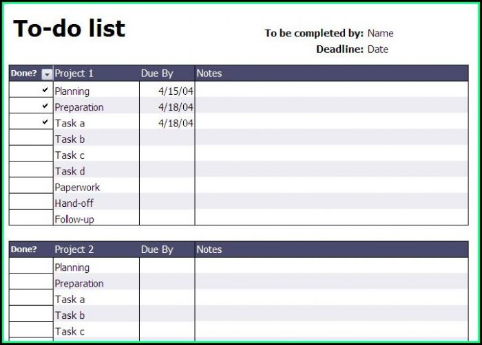 Free Project To Do List Template Excel