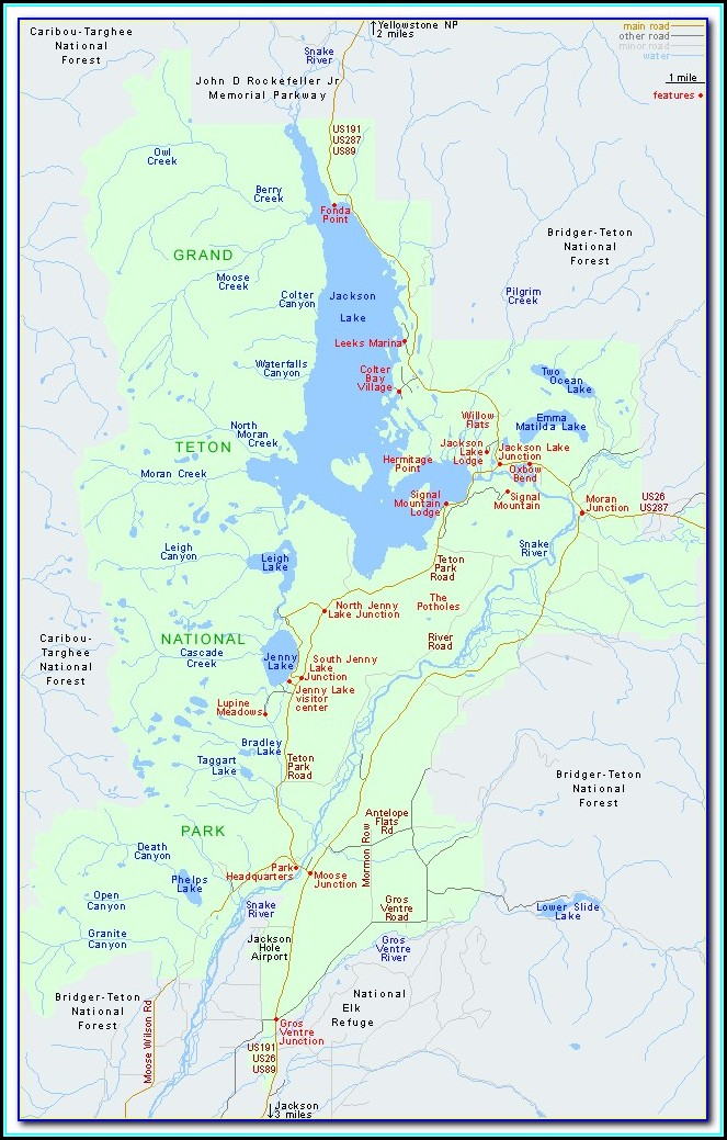 Grand Teton National Park Attractions Map