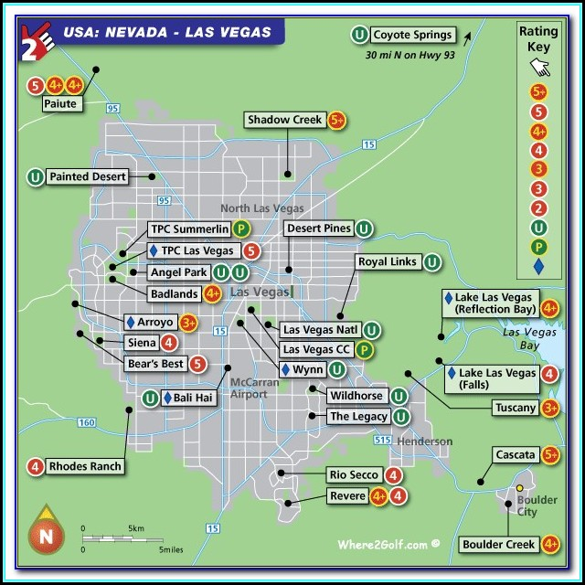 Map Of Golf Courses In Las Vegas Near The Strip