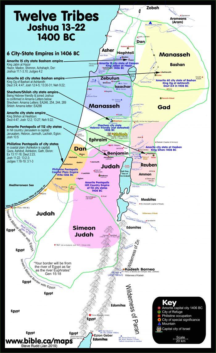 Map Of Israel Twelve Tribes