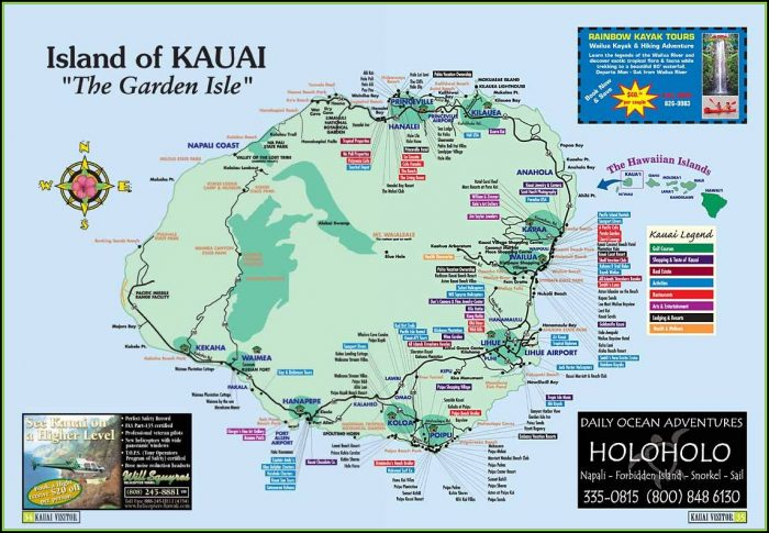 Map Of Kauai Hawaii Hotels