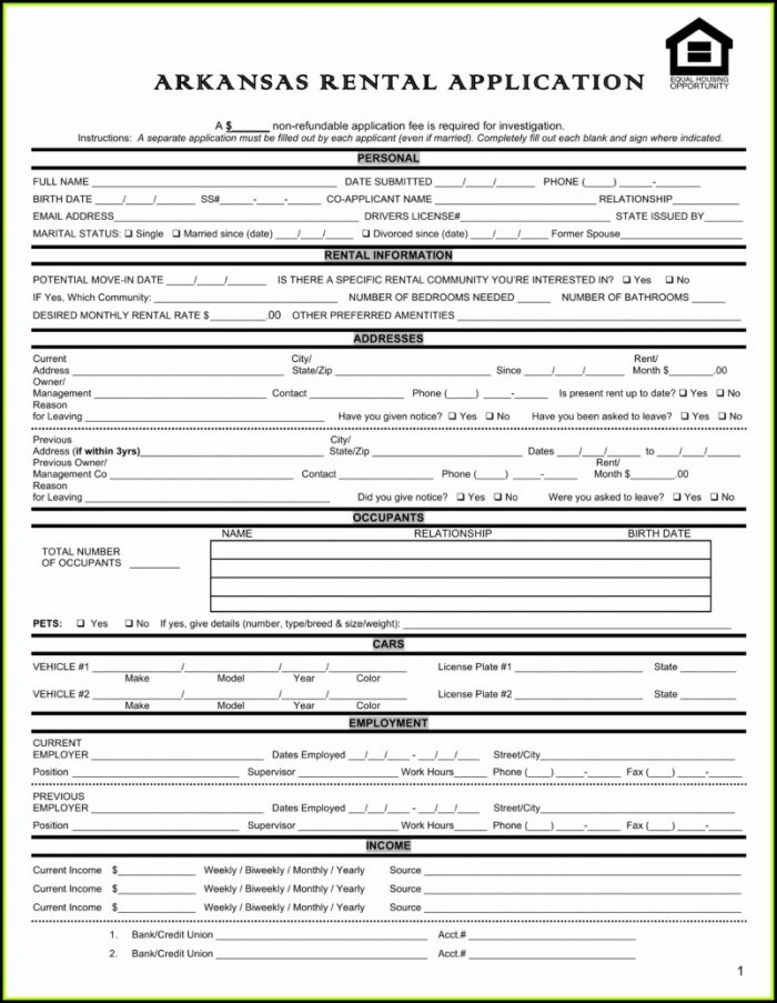 Rental Application Forms Qld