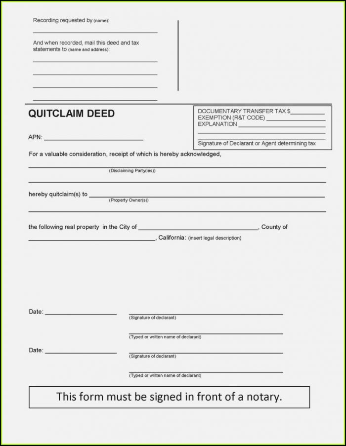 Riverside County California Quit Claim Deed Form