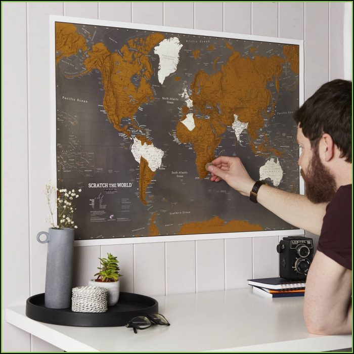 Scratch The World Black Map Print With Coin