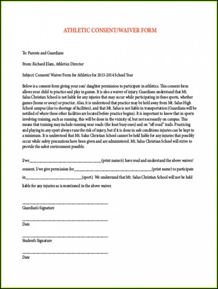 Sports Waiver Form Sample