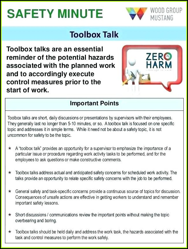 Tailgate Safety Meeting Form Pdf