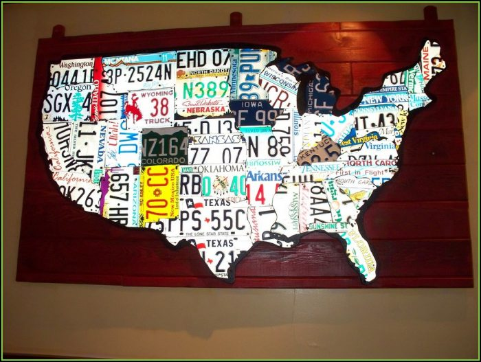 Usa Map Made Out Of License Plates