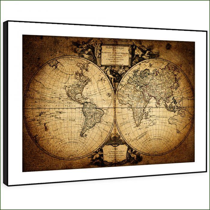 Vintage World Map Framed