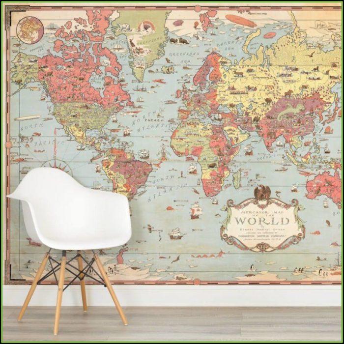 Vintage World Map Murals