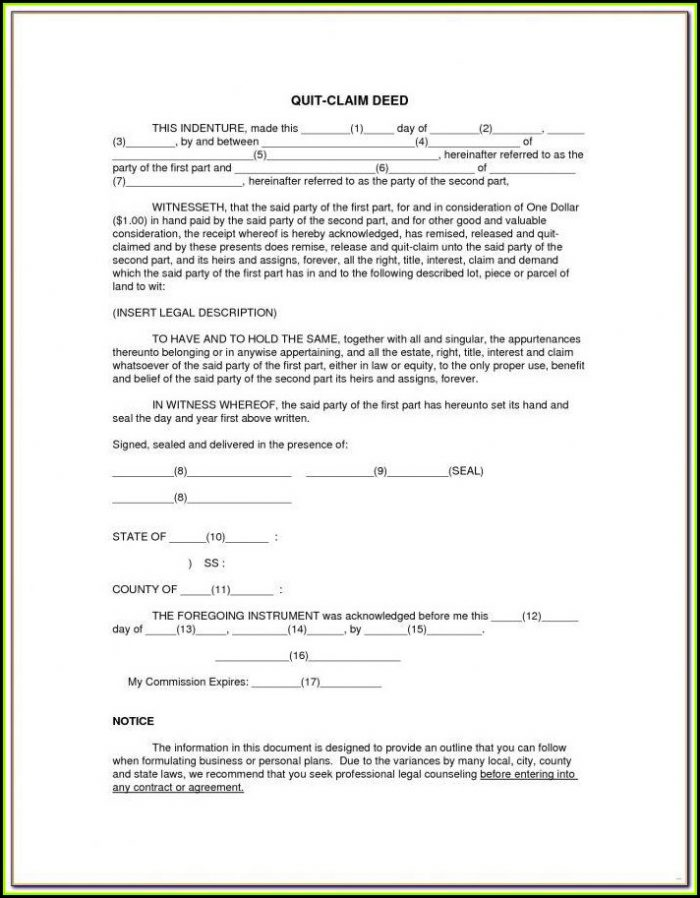 Volusia County Florida Quit Claim Deed Form
