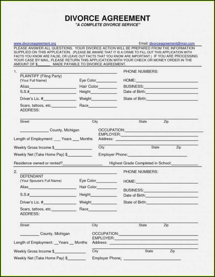 Wi Divorce Forms Free