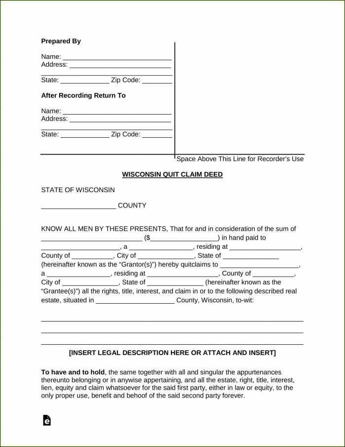 Wisconsin Quit Claim Deed Form