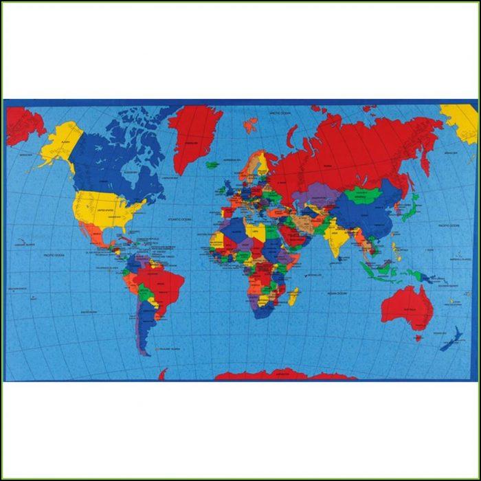 World Map Fabric Panel