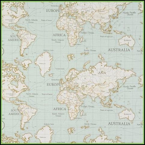 World Map Oilcloth
