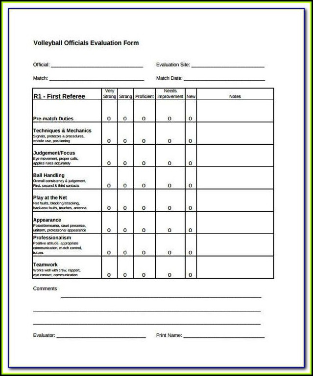 Youth Soccer Tryout Evaluation Form