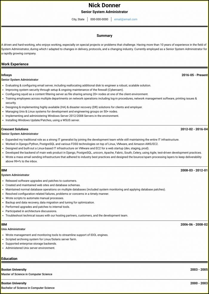 Admin Resume In Word Format India