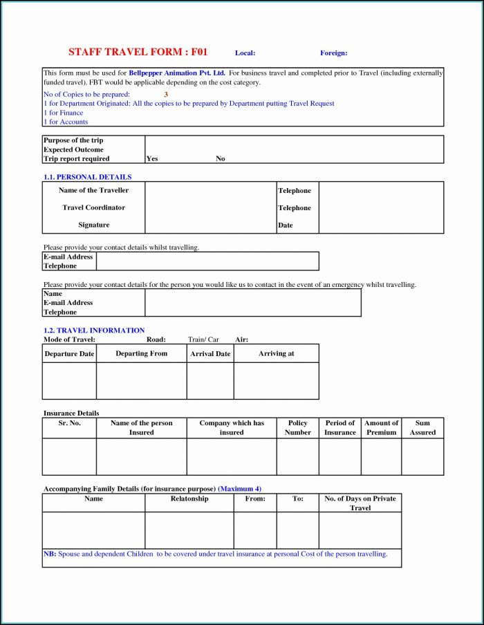 Business Travel Request Form Template Excel