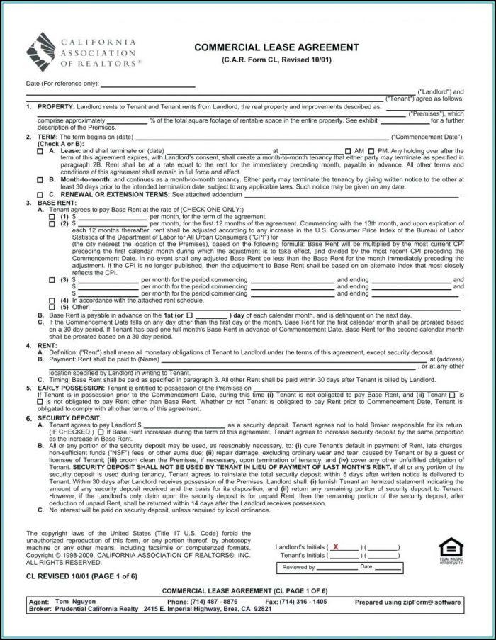 California Association Of Realtors Rental Agreement Form Pdf