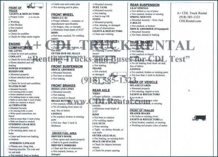 California Cdl Pre Trip Inspection Checklist Form