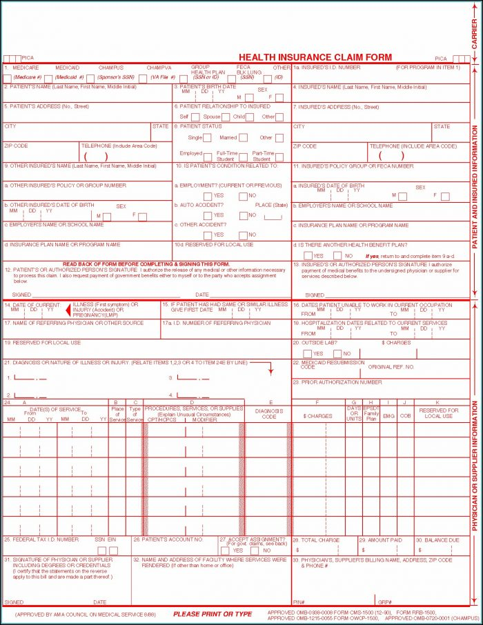 Cms 1500 Claim Form Fillable