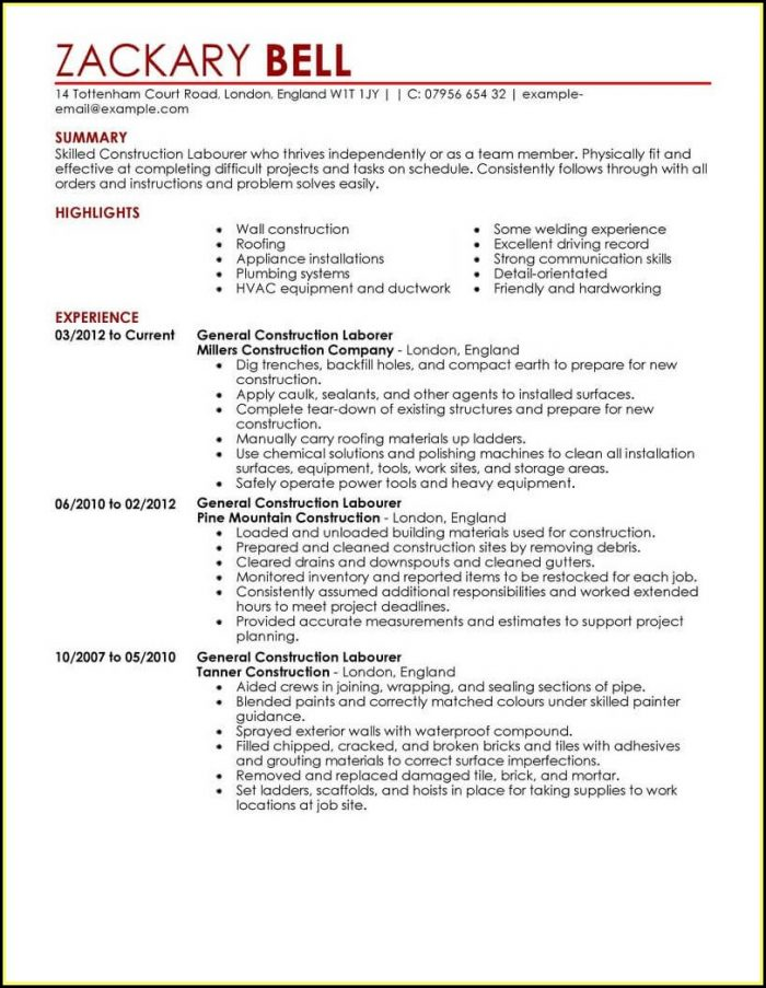 Construction Resume Template Word