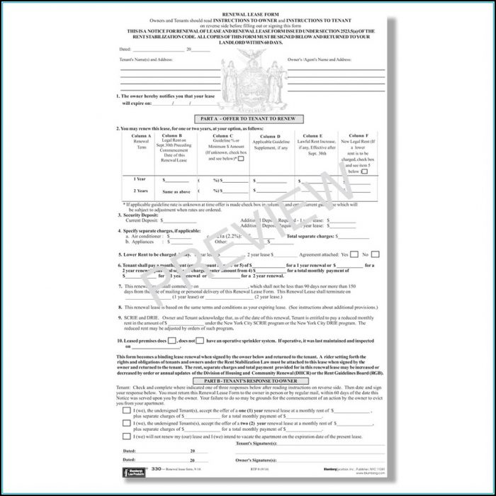 Dhcr Rent Stabilized Lease Renewal Form