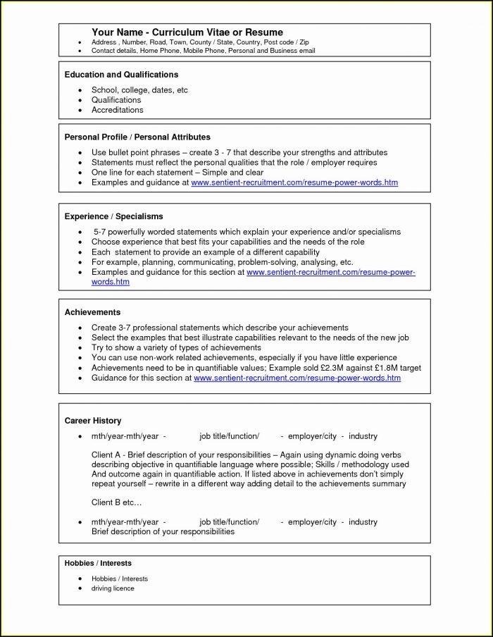 Downloadable Simple Resume Format In Word