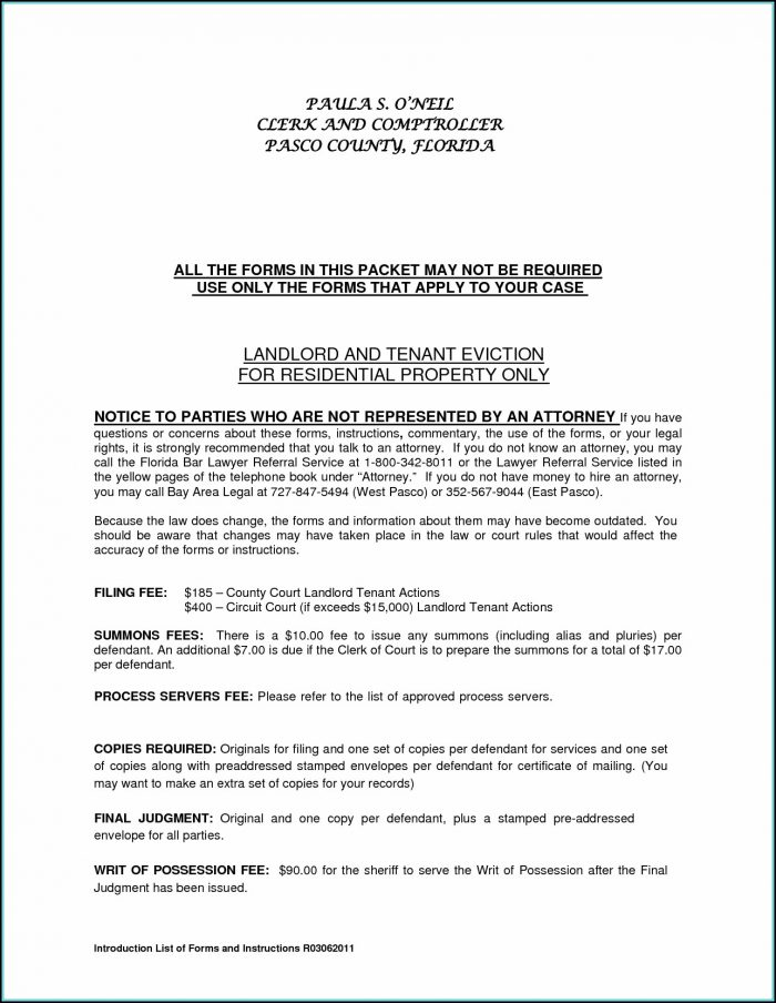 Eviction Notice Form Letter