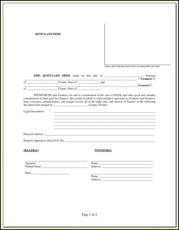 Florida Quit Claim Deed Form Divorce