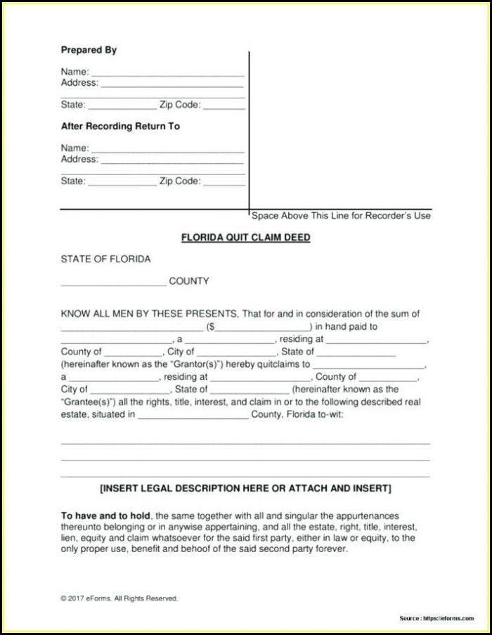 Florida Quit Claim Deed Form Pdf