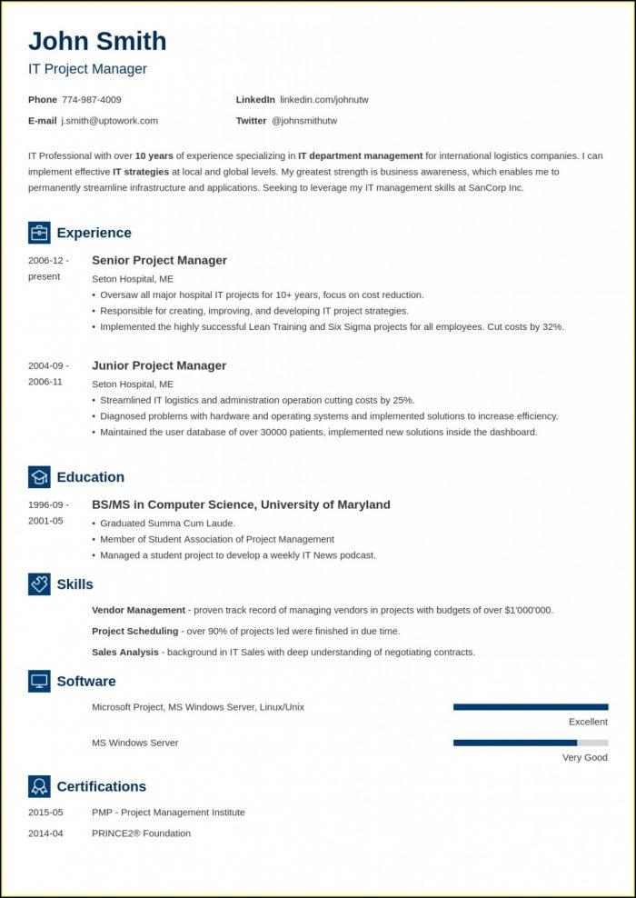 Free Blank Resume Form Printable