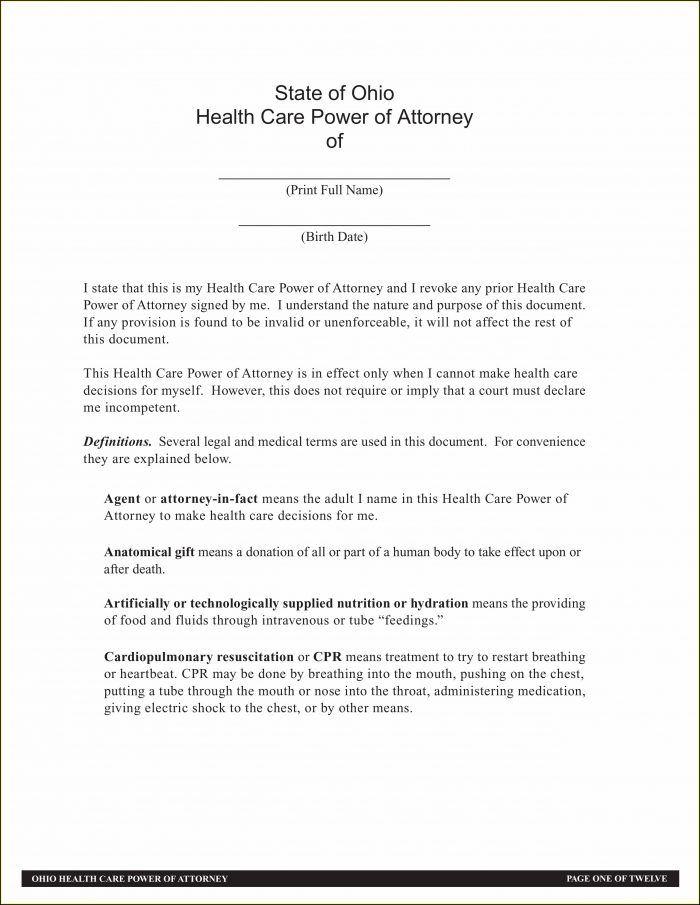 Free Durable Power Of Attorney For Health Care Form Ohio
