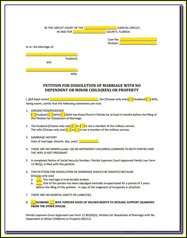 Free Florida Separation Agreement Form