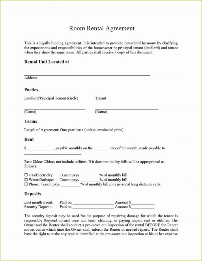 Free House Rental Agreement Form Template