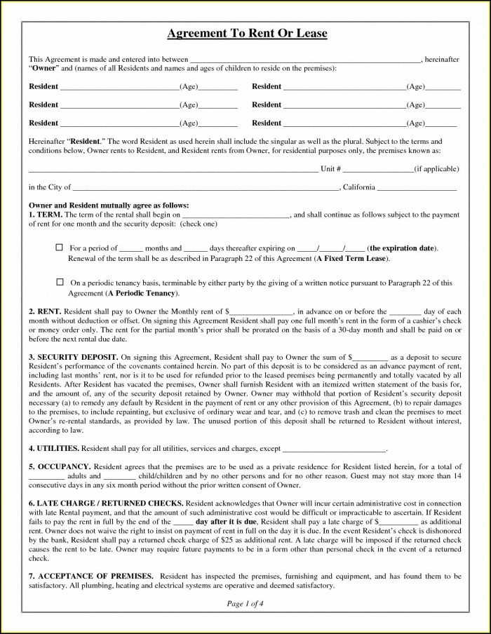 Free Lease Agreement Form Template