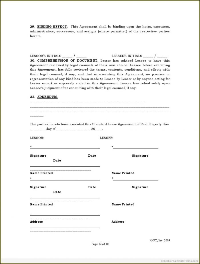 Free Lease Agreements Forms Printable
